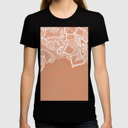 Modern hand drawn floral lace color copper tan roast illustration pattern T-shirt