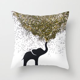 elephant w/ glitter Throw Pillow
