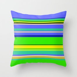 Color Stripes 2 - blue and green Throw Pillow