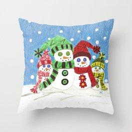 Colorful snowmen family portrait Throw Pillow