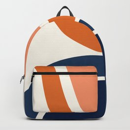 Abstract Shapes 7 in Burnt Orange and Navy Blue Backpack