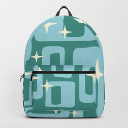 Retro Mid Century Modern Abstract Pattern 579 Teal and Blue Backpack