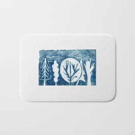 linocut trees print Bath Mat