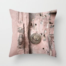 Pink Rusty Door Throw Pillow