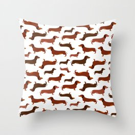 Brownie dachshunds Throw Pillow