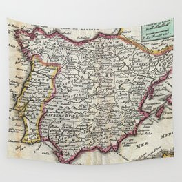 Vintage Map of Spain and Portugal (1747) Wall Tapestry