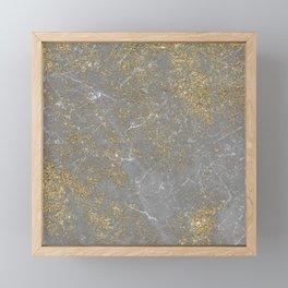 Elegant gray faux gold glitter marble Framed Mini Art Print