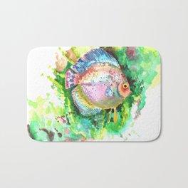 Aquarium Fish, Green Rainbow colors, Discus, Pink Green Illustration Bath Mat