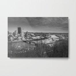 Pittsburgh City Skyline Overlook Black and White Metal Print