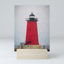 Red Manistique East Breakwater Lighthouse Upper Peninsula Lake Michigan Mini Art Print