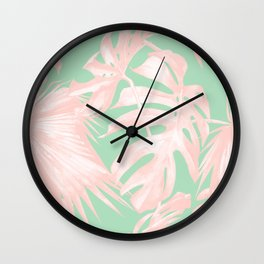 Tropical Palm Leaves Coral Pink Mint Green Wall Clock