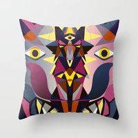 wolves Throw Pillows featuring Wolves by youareconstance