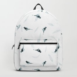 Primitive Blue and Black Birds and Leaves Pattern Backpack