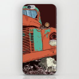Art print: The old vintage car and the wolf skull iPhone Skin
