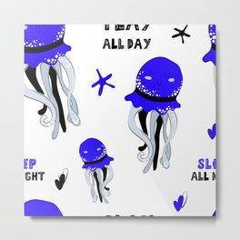 cute blue octopus Metal Print
