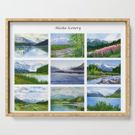 Alaska Scenery Poster with 9 landscapes Serving Tray