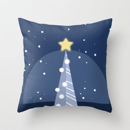 Christmas in Blue Throw Pillow