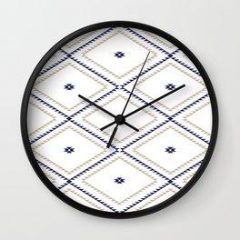Navajo Pattern - Tan / Navy / White Wall Clock