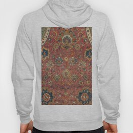 Persian Medallion Rug IV // 16th Century Distressed Red Green Blue Flowery Colorful Ornate Pattern Hoody