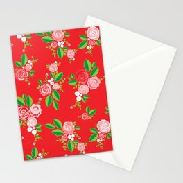 Red Summer Rose Stationery Cards