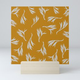 Harakeke Flax Seed pod (Ochre and light grey) Mini Art Print
