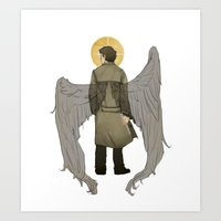 castiel Art Prints featuring Castiel by cyrrs