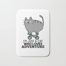 Cat bike funny gift saying Bath Mat