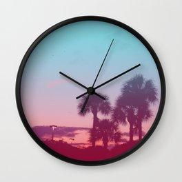 Palm Tree Sunset Wall Clock