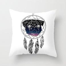 Dreamcather Pug Throw Pillow