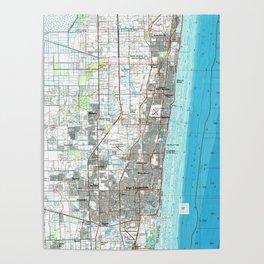 Fort Lauderdale Florida Map (1985) Poster