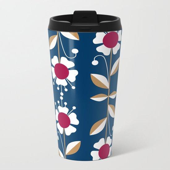 Blue floral pattern . Metal Travel Mug
