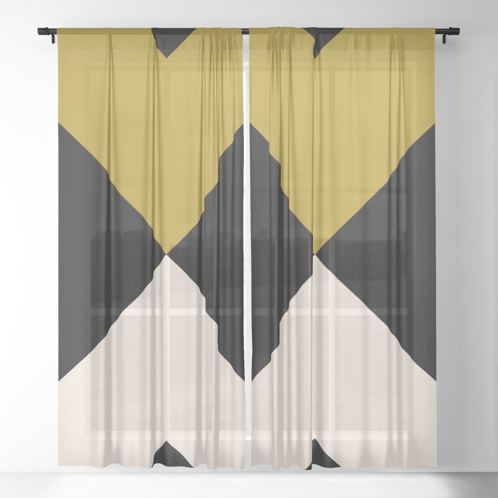Minimal X Dark Olive Sheer Curtain