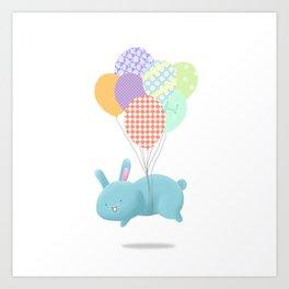 Floating Rabbit Art Print