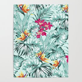 Bird of Paradise Greenery Aloha Hawaiian Prints Tropical Leaves Floral Pattern Poster