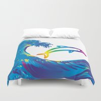 hokusai Duvet Covers featuring Hokusai Rainbow & dolphin_C by FACTORIE