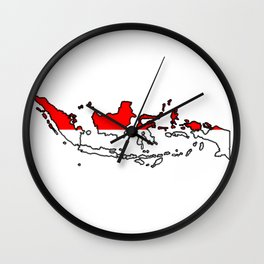 Indonesia Map with Indonesian Flag Wall Clock