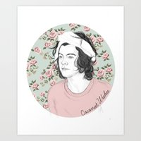 coconutwishes Art Prints featuring H circle floral  by Coconut Wishes