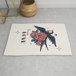 True Love | Old School Tattoo Print | Swallow And Roses Rug
