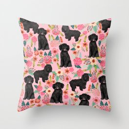 Black Cockapoo Floral dogs, dog blanket, dog mug, cute dog breeds Throw Pillow
