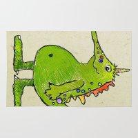 vegetarian Area & Throw Rugs featuring Vegetarian Dragon ;)  by Shekufe