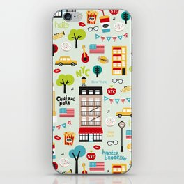 Fun New York City Manhattan travel icons life hipster pattern iPhone Skin