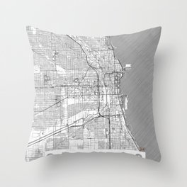 Chicago Map Line Throw Pillow