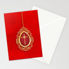Beautiful red egg with gold cross on rich vibrant texture Stationery Cards