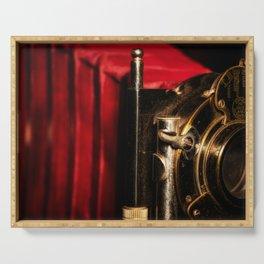Scarlet a vintage Kodak folding camera retro art Serving Tray