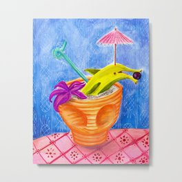 Tiki Drink no.2 with banana dolphin Metal Print
