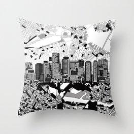 boston city skyline black and white Throw Pillow