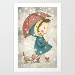 Christmas&snow Art Print