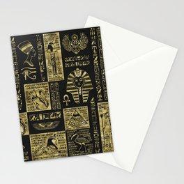 Egyptian  hieroglyphs and symbols gold on black leather Stationery Cards
