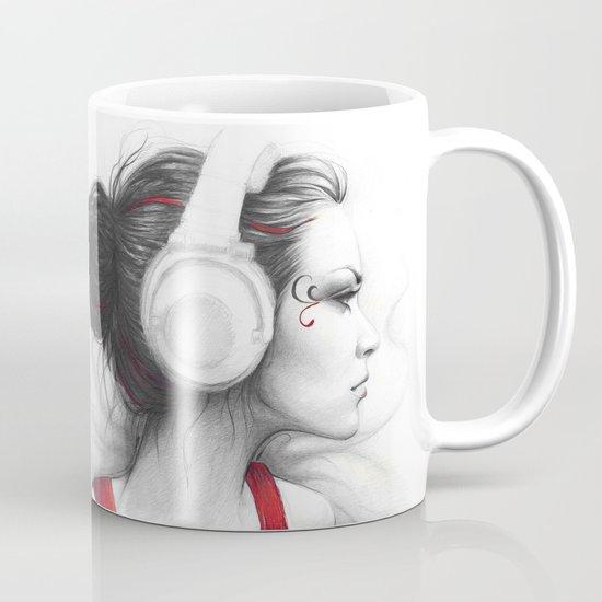 MUSIC Girl in Headphones Coffee Mug