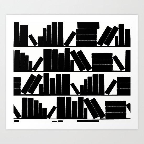 Library Book Shelves, black and white Art Print